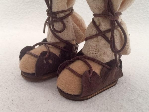 Bild von Leder-Sandale mit Holzsohle 4 plus d'braun